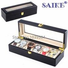 (Precio especial) 6 Slots Reloj Organizador Caja Caja De Almacenamiento Con Cerradura Negro MDF Reloj de la Marca de Moda Reloj Titular Casos Joyas D026