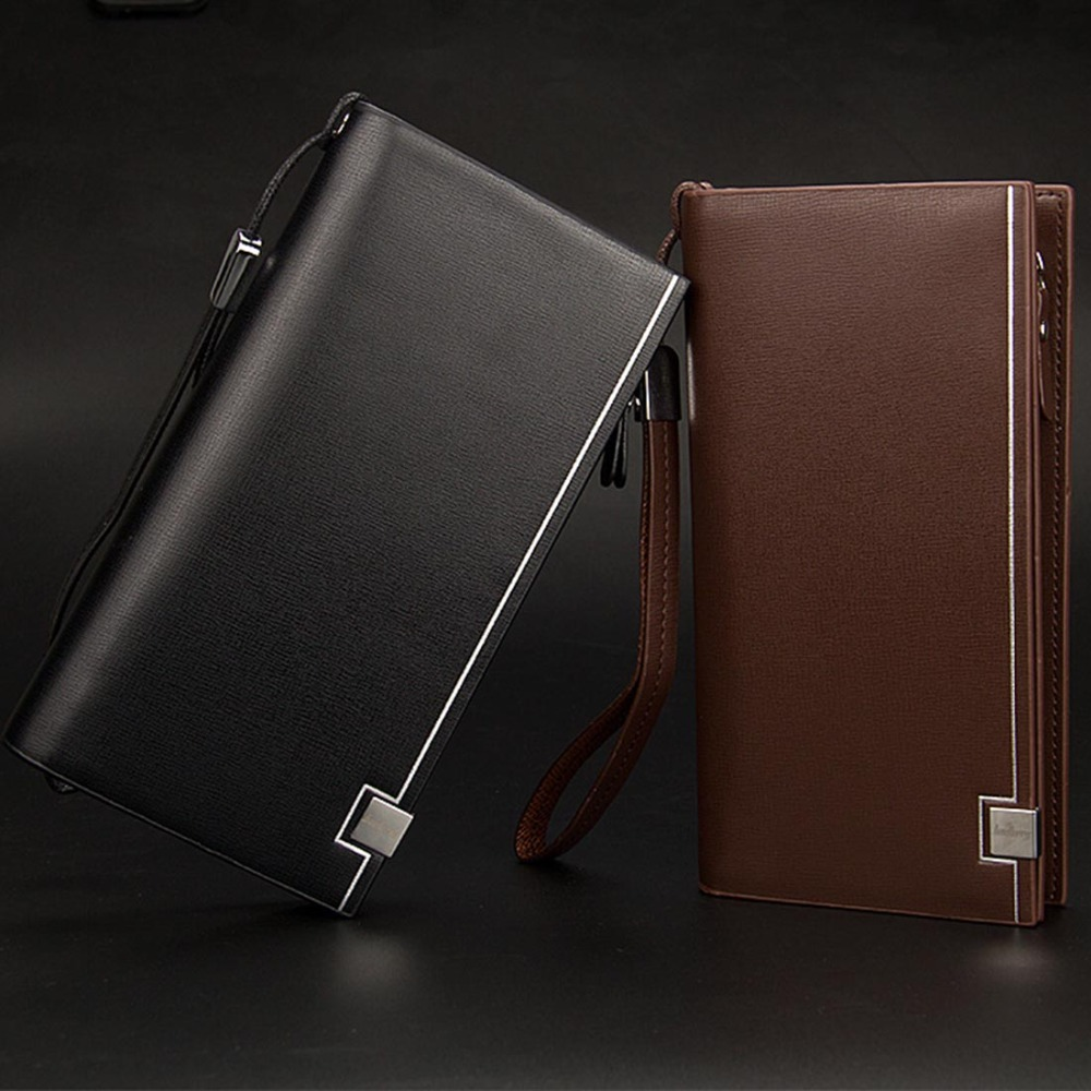 2019 Baellerry Men Long Wallets Card Holder Zipper Hasp Soft Men Purse Casual Business Phone Coin Pocket Simple Male Wallet in Wallets from Luggage Bags