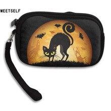 MEETSELF Mode Kreative 3D Print Halloween Schwarz Katze Fledermaus Frauen brieftasche Mädchen Niedliche Geldbörse Kleine Aufbewahrungsbeutel Für Schlüssel karte