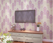 beibehang Simple fashion non-woven arcs bedroom living room video wall peacock tail pink papel de parede 3d wallpaper