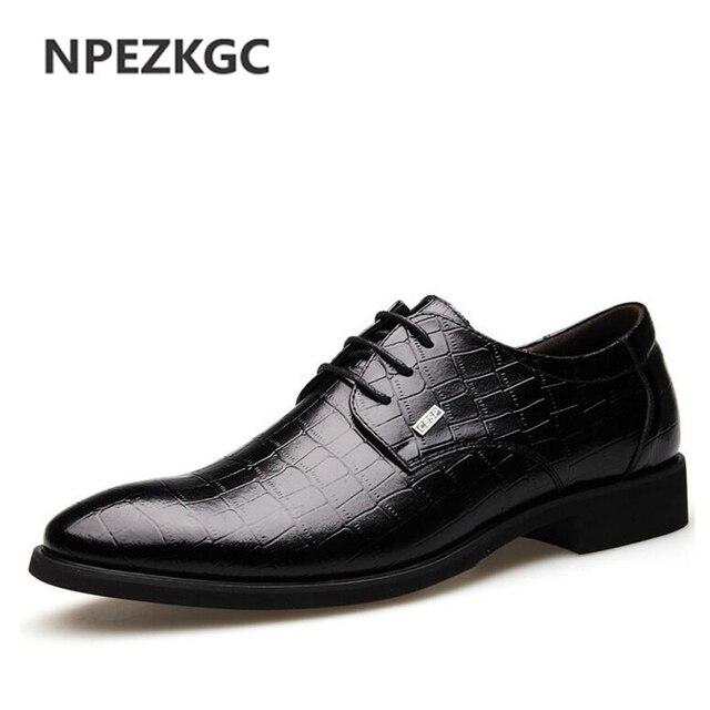 Npezkgc New Leather Men Dress Shoes Brown Black Men Oxford Lace Up