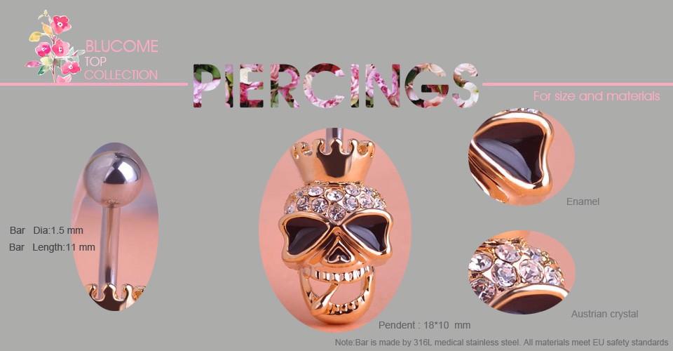 HTB1VjA2FFXXXXaQaXXXq6xXFXXXH Black Enamel Crowned Skull Body Jewelry Piercing Navel Ring
