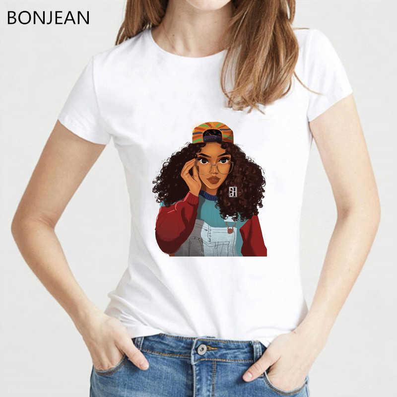 חדש הגעה 2019 מלנין Poppin t חולצת נשים harajuku חולצה למעלה היפ הופ tumblr בגדים נשי חולצה ווג tshirt femme חולצות