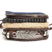 1 Set 4PCS leather bracelet Men's multi-layer bead bracelet women's retro punk casual men's jewelry bracelet jewelry accessories