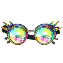 Kaleidoscope Sunglasses Festival Party Colorful rivet glasses Colorful Glasses Rave Festival EDM Sunglasses Diffracted Lens #4-5(China)
