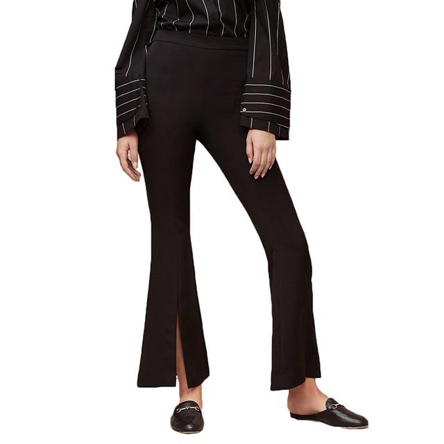 Весенняя мода 2018 женские черные расклешенные брюки разрез Высокая Талия Молния сзади леди работа Повседневное простой Feminina Pantalones брюки