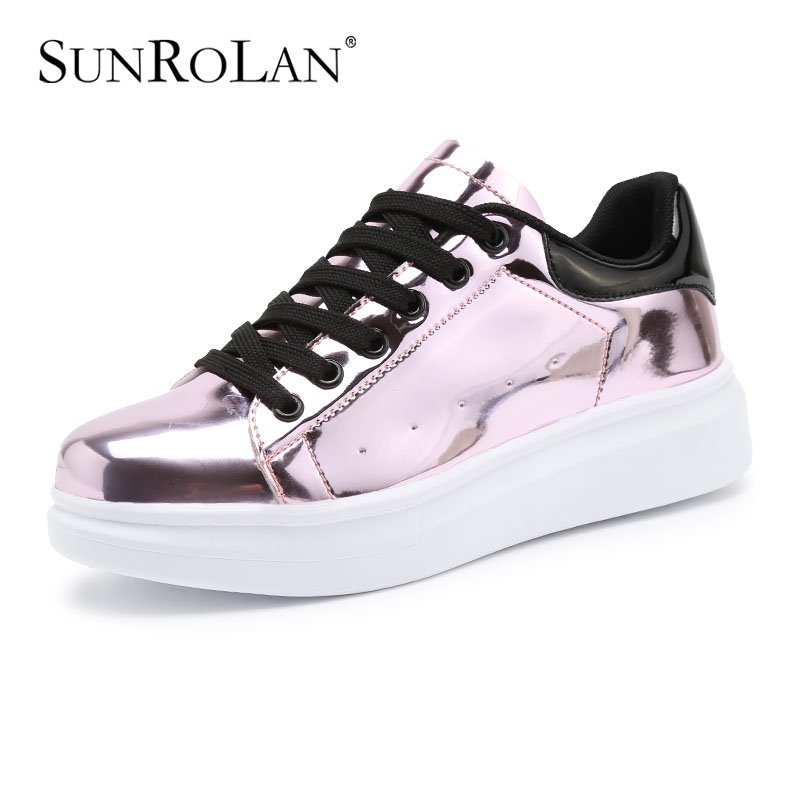 ФОТО SUNROLAN Women Lace-up Casual Shoes Women Flats Glitter Women Flat Platform Shoes Moccasin Autumn Spring Casual Shoes RX8010