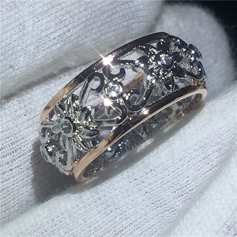 Hollow Flower Ring White Rose Gold Filled Anniversary Wedding Band Rings for women men AAAAA zircon cz Finger Jewelry