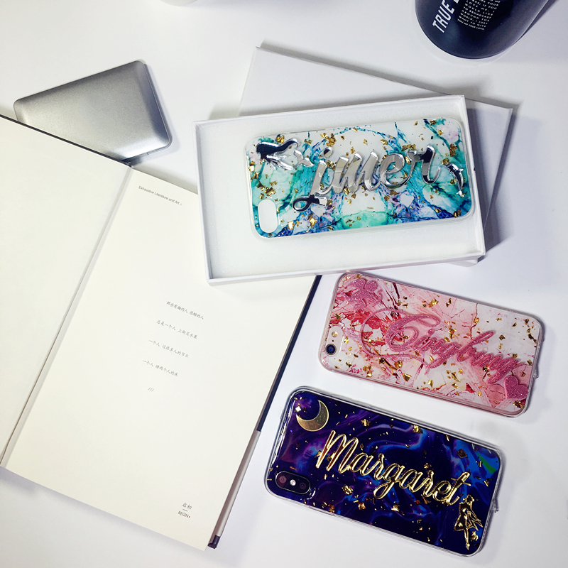 For iPhone 6 6s 7 8 plus X Luxury Fashion Exclusive Customize Personal Name Marble Flake glitter bling soft phone case cover