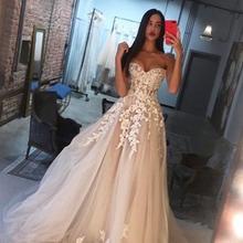 Encantadores vestidos de novia champán con apliques de marfil 2020 escote corazón hombros descubiertos vestidos de novia corsé espalda vestido de novia