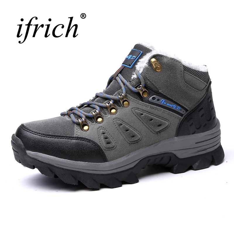 2017 Winter Men's Hiking Shoes Outdoor Men Mountain Boots Big Size Warm Sport Boots Leather Snow Boots Mens Climbing Sneakers big size 46 men s winter sneakers plush ankle boots outdoor high top cotton boots hiking shoes men non slip work mountain shoes
