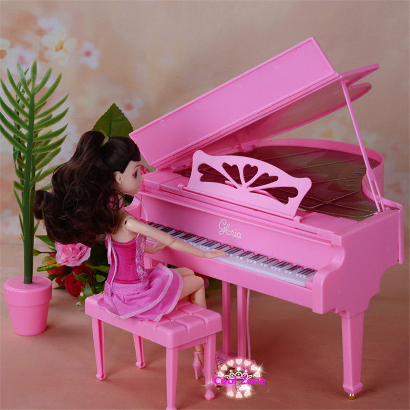 Miniature Furniture Piano for Barbie Doll House Pretend