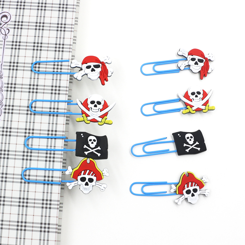 8 Pcs/set Cartoon Mini Pirate PVC Clips Bookmarks Book Mark Paper Photo Message Clips Stationery Office Supply Gift