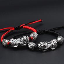 100% 999 Silver Tibetan Six Words Proverb Beads Bracelet Pure Silver Wealth Pixiu Beaded Bracelet Good Luck Braided Bracelet handmade 999 silver dragon bracelet pure silver power dragon beads bracelet good luck bracelet