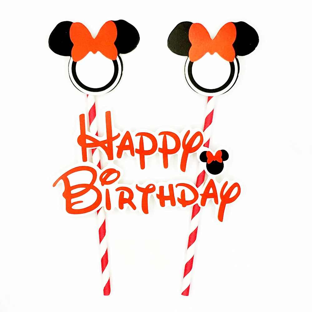 Red Minnie Mouse Cake Topper Happy Birthday Party Supplies Dessert Insert cake toppers Straw Flags Decoration Kids Girl favor