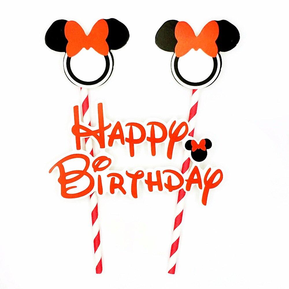 Wondrous Red Minnie Mouse Cake Topper Happy Birthday Party Supplies Dessert Funny Birthday Cards Online Necthendildamsfinfo