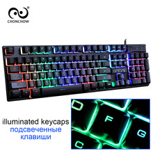 CHONCHOW Gaming Keyboard Rainbow Backlit Colorful Led Keyboard Free Russian Spanish French Layout Sticker Wired Keyboard Gamers