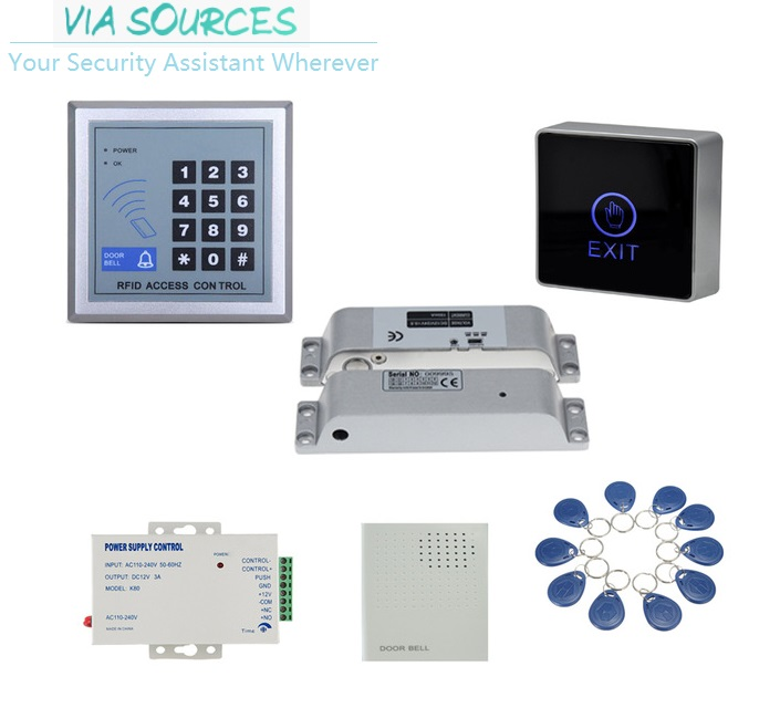 Free Shipping RFID glass wooden door access control kit with drop bolt electric magnet lock power supply keypad tags doorbell lpsecurity gate door electric magnetic lock drop bolt strike access control system power supply with box cabinet 12v 5a
