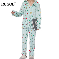 RUGOD Winter Turn down Collar Knitted Pajamas Comfortable Long Loose Pajamas Set For Women 2018 Winter Geometric Pattern Pajama