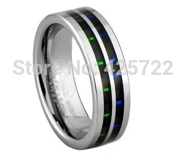 men and woman Tungsten wedding band with blue and green carbon fiber inlaid wholesale and drop shipping