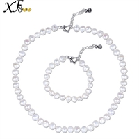 XF800 Trendy Real Freshwater Pearl Necklace Bracelet For Anniversary Natural Stone Fine Jewelry Set ST23