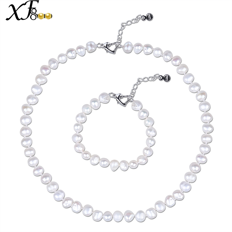 XF800 Pearl Jewelry Sets Natural Freshwater Baroque Pearl Necklace Bracelet White Beads Adjustable Size For Women