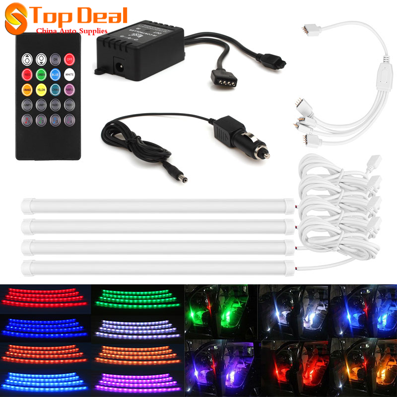 Sale 7 Color Styling RGB LED Strip Atmosphere Lamps Interior Light source With Remote Car Charger Auto Automobiles
