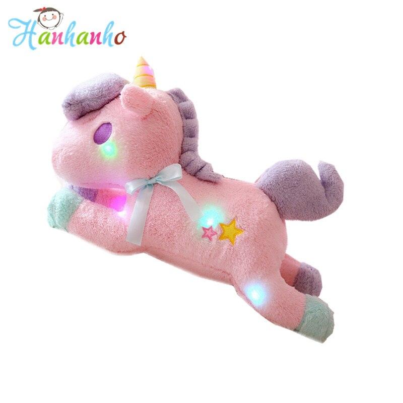 50cm Led Colorful Flashing Unicorn Horse Plush Toy Luminous Cushion
