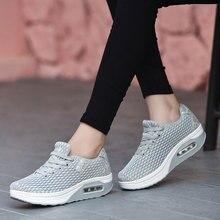 MWY zapatos informales De malla transpirable para Mujer, Zapatillas con aumento De altura, para caminar al aire libre, con cordones