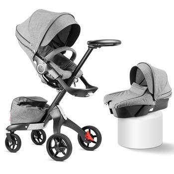 2019 New Upgrade DSLAND Luxury High Landscape Stroller Can Sit Reclining Light Folding Baby Hand Push Umbrella Cart 0-4 Y
