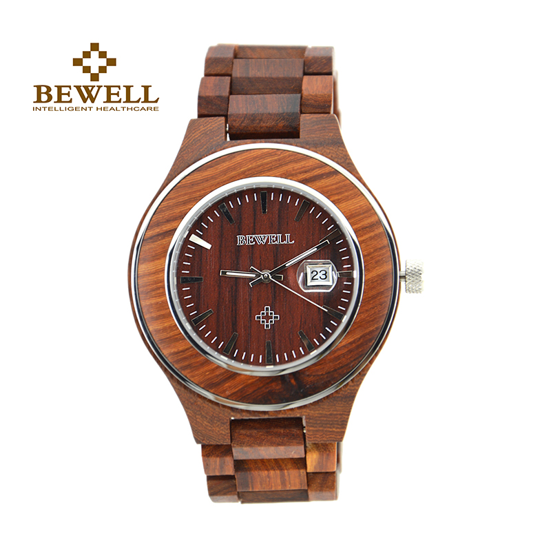 BEWELL Roud Case Wood Watch Men Analog Quartz Watch Mens Watches Top Brand Luxury Role Luxury Watch Men Free Shipping 100AG 2016 top brand bewell natural handmade sandalwood watch for masculino luxury watches gift reloj mujer zs 100ag