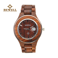 BEWELL Round Case Wood Watch Men Analog Quartz Watch Mens Watches Top Brand Luxury Role Luxury Watch Men Free Shipping 100AG