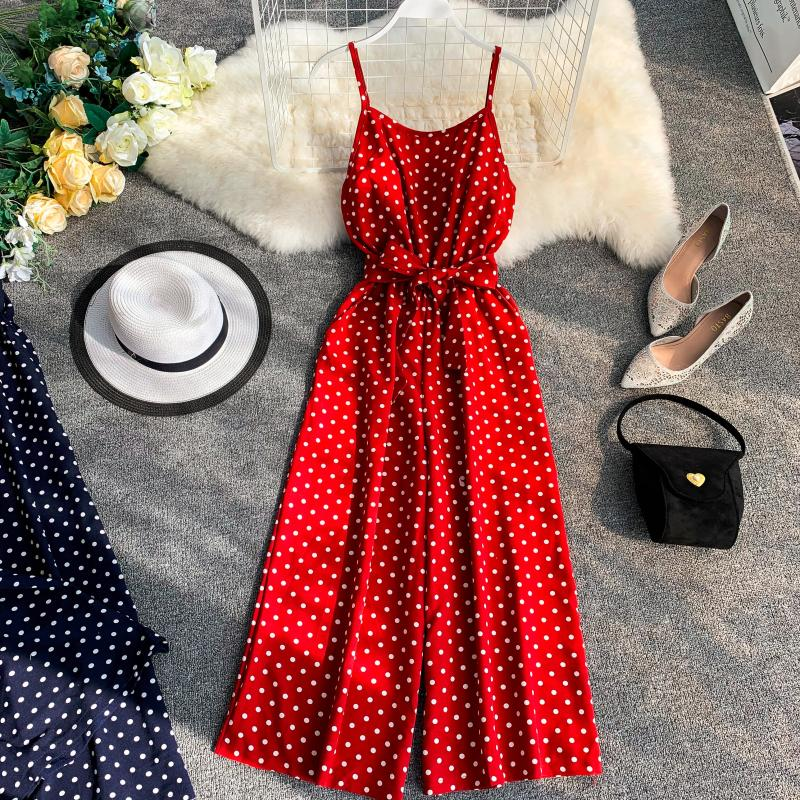 Holiday Retro Dot Print V Collar Sleeveless High Waist Broad-legged Overalls Beach Rompers Womens   Jumpsuit   E521