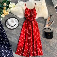 Holiday Retro Dot Print V Collar Sleeveless High Waist Broad legged Overalls Beach Rompers Womens Jumpsuit E521