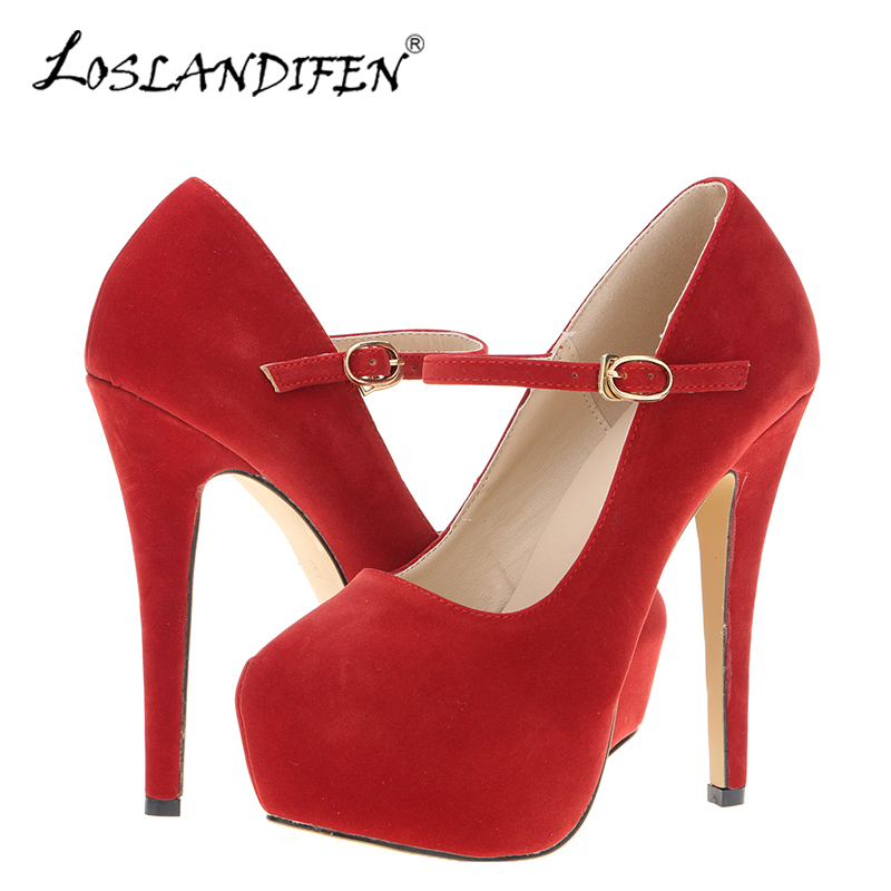 LOSLANDIFEN Mary Janes Women Pumps New Platform High Heels Shoes Woman Sexy Round Toe Flock Red Pumps Extreme Thin Heel 817-10VE xiaying smile summer new woman sandals platform women pumps buckle strap high square heel fashion casual flock lady women shoes