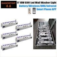5in1 Chargingable Flightcase Pack 9x18W RGBWA UV Wireless Battery Led Wall Washer Light Air DMX Wifi LED Bar Uplight iOS&Andorid