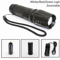Tactical LED Flashlight 1000LM XML T6 Q5 R5 Zoomable 5 Modes Aluminum 878 Torch Use AAA/18650/26650 White/Red/Green Light