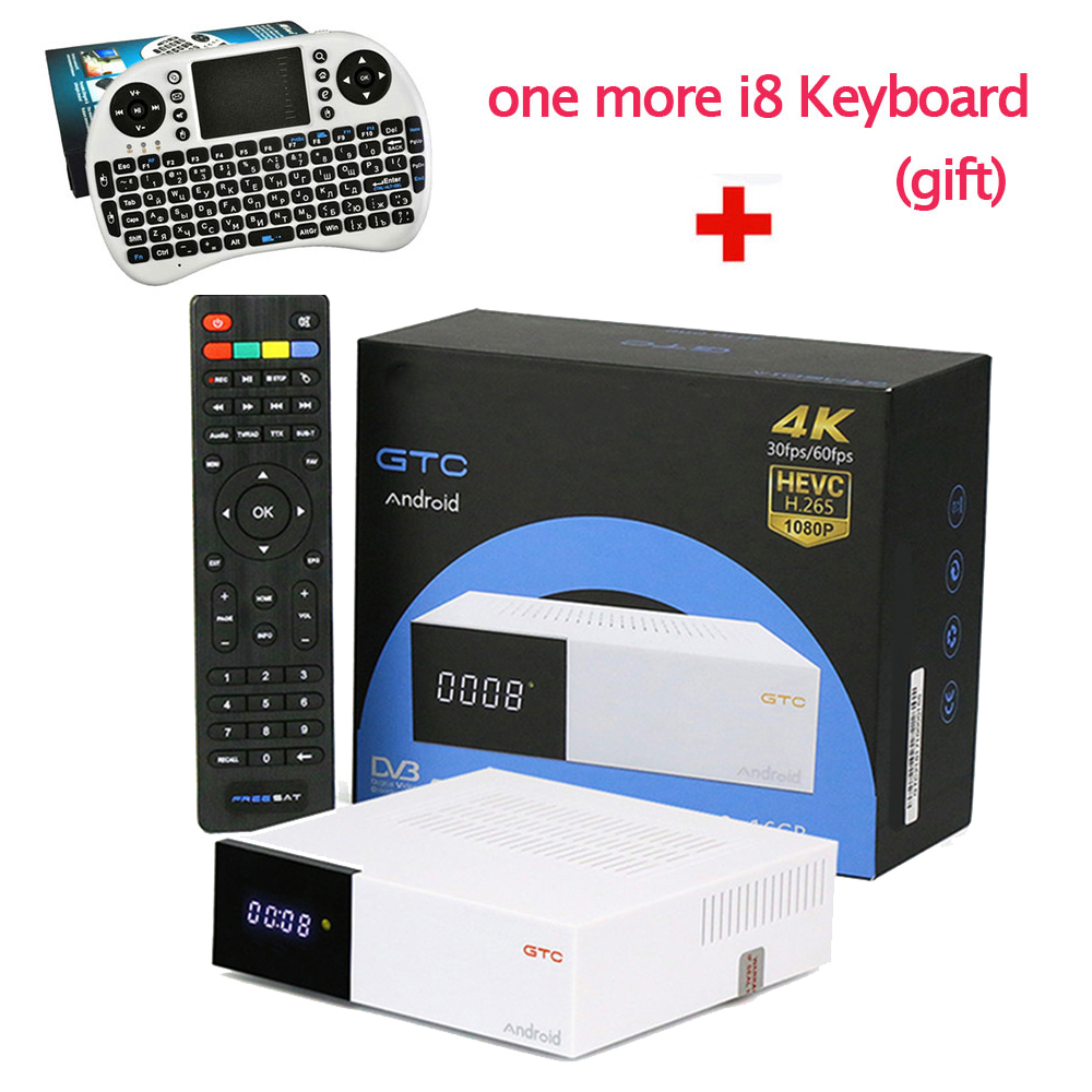GTC Android TV BOX DVB-S2 DVB-T2 DVB-C ISDB-T 2GB 16GB+1 Year French Italy Turkey Arabic IPTV Server HD Smart IP TV box free shipping isdb t quad tuner pcie card tbs6814 perfect for brazil sbtvd and japan isdb t tv programs