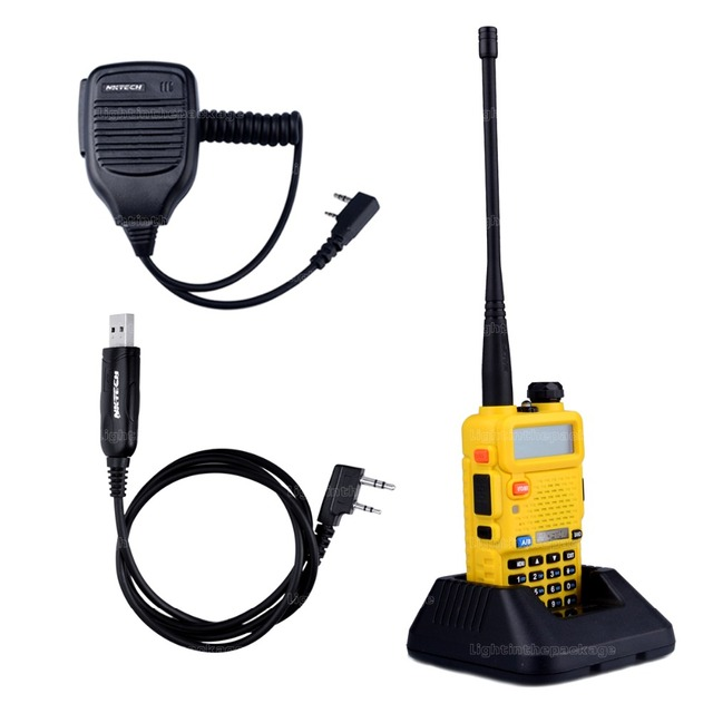 BaoFeng УФ-5R Walkie Talkie трансивер 5 Вт 128CH UHF VHF Радио + 1X Спикер Микрофон + 1X USB Кабель