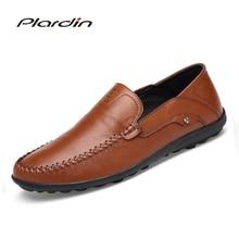 Plardin 2018 Four seasons Fashion Man Split Leather soft Comfortable Dress Casual Metal Decoration Sewing Leather