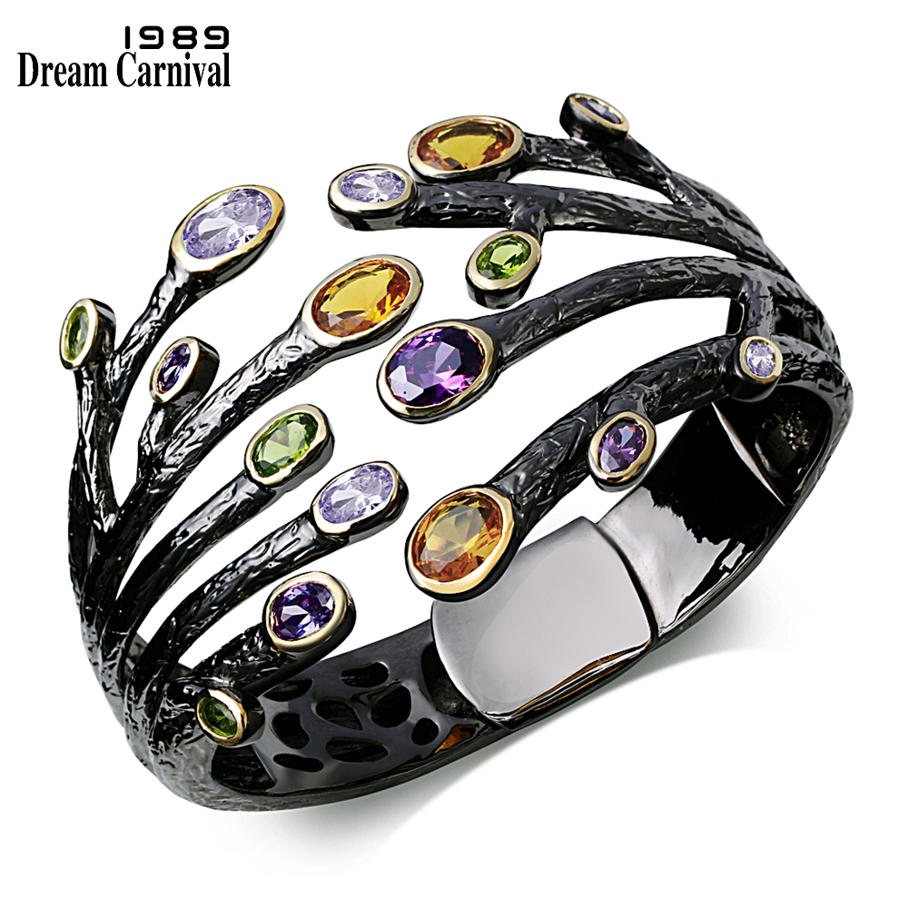 Dreamcarnival1989 Vintage Fashion Cuff Bracelet for Women Multi Colors CZ Bezel Dragon Claw Bangles Deluxe Party