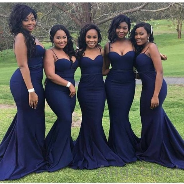 2017 African Plus Size Mermaid Bridesmaid Dresses Long Navy Blue ...