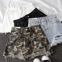 Camo Mini Denim Skirts Womens High Waisted Short Skirt Camouflage Sexy Streetwear Harajuku Skirt 2019 Summer