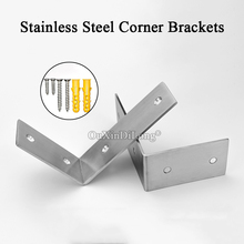 цена на Stock 20PCS Stainless Steel Triangle Right Angle Brackets Thicker 3mm Furniture Corner Braces Joint Shelf Support Connectors