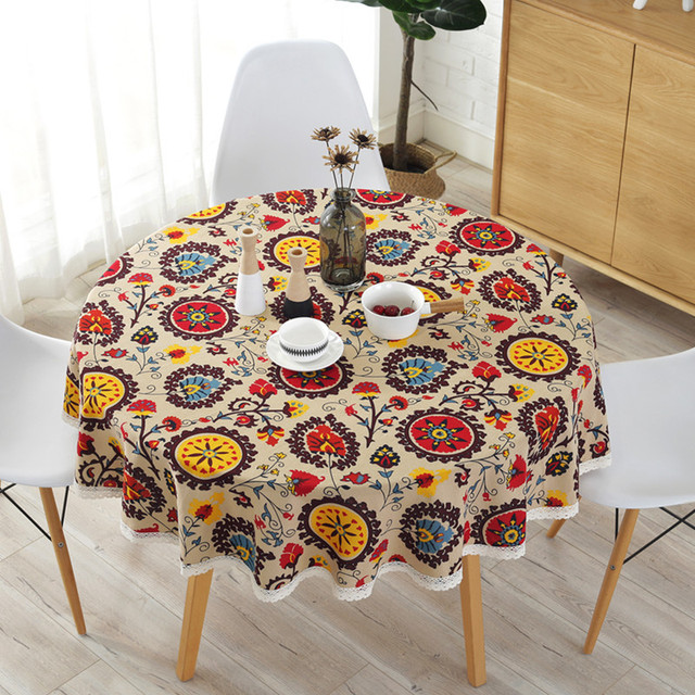Europe Round Tablecloth With Lace Cotton Colorful Sunflowers Printed Table Covers Home Hotel Decorative Cloth
