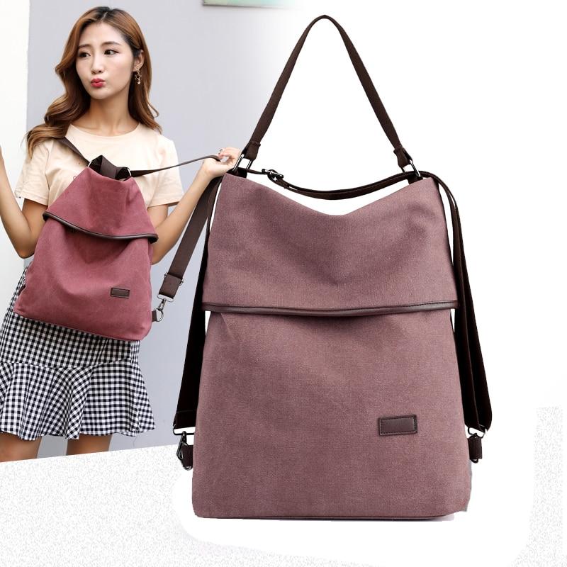 Kvky Female Canvas Backpack Preppy Style Women School Rucksack Lady Travel Shoulder Bagpack Casual Daypacks Mochilas