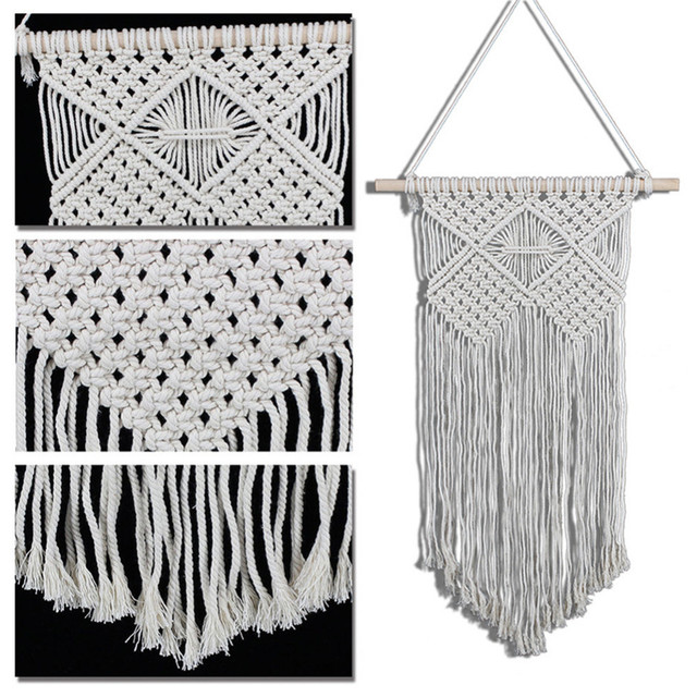 Hand knit Long Hangings Pure Color Cotton Yarn Wall Tapestry Craft ...