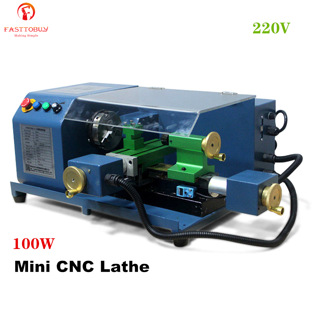 100W Mini CNC Drehmaschine Maschine Maximale Drehen Durchmesser 100mm, 0-2800rpm G-code & M-code Kleine Drehmaschine J 100 01CNC-A für CNC Lehre