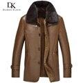 2016 Nuevo Invierno hombre Lana interior de cuello desmontable de piel de Visón de piel de oveja chaqueta de cuero Genuino Negro/Champagne Escudo 16Z1517