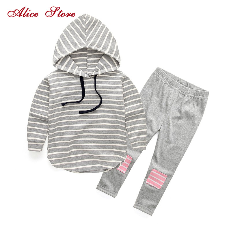 Classic Striped Baby Girl Clothing Set Spring Retail 2Pcs Hooded Sweatshirts+Leggings Pants Girls Clothes Sets Casual Kids Suits free shipping 1pc retail 2016 spring girls fashion white with black star leggings